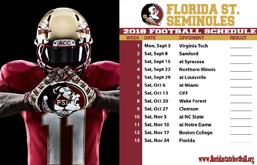 Florida State Football Schedule 2018