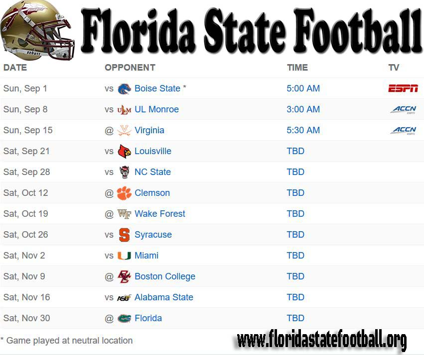florida state football schedule 2019